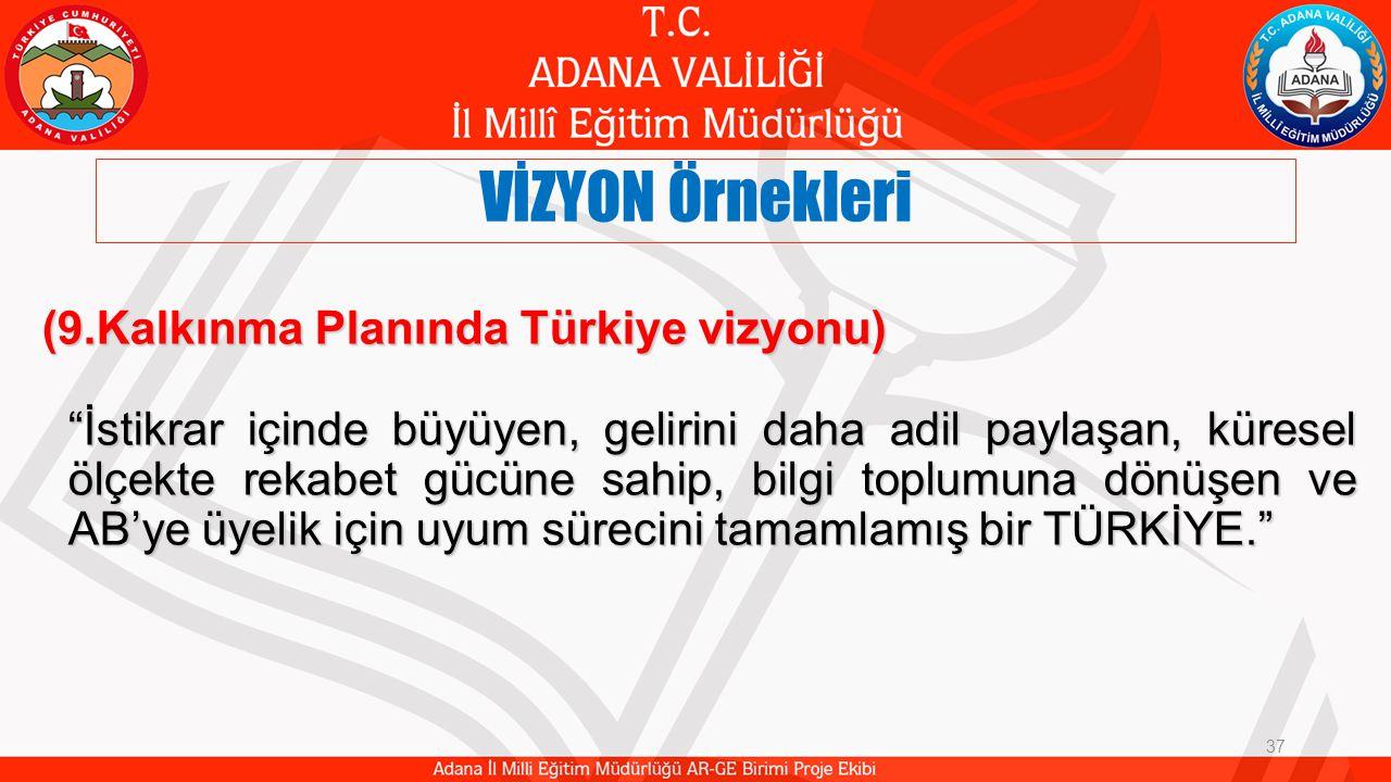VİZYON Örnekleri 37 (9.Kalkınma Planında Türkiye vizyonu) İstikrar içinde büyüyen, gelirini daha adil paylaşan, küresel ölçekte rekabet gücüne sahip, bilgi toplumuna dönüşen ve AB'ye üyelik için uyum sürecini tamamlamış bir TÜRKİYE.