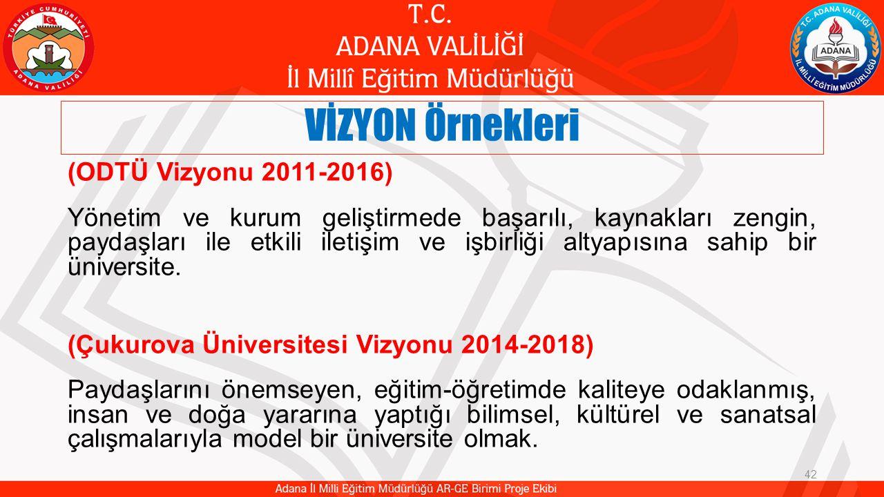 VİZYON Örnekleri 42 (ODTÜ Vizyonu 2011-2016) Yönetim ve kurum geliştirmede başarılı, kaynakları zengin, paydaşları ile etkili iletişim ve işbirliği altyapısına sahip bir üniversite.