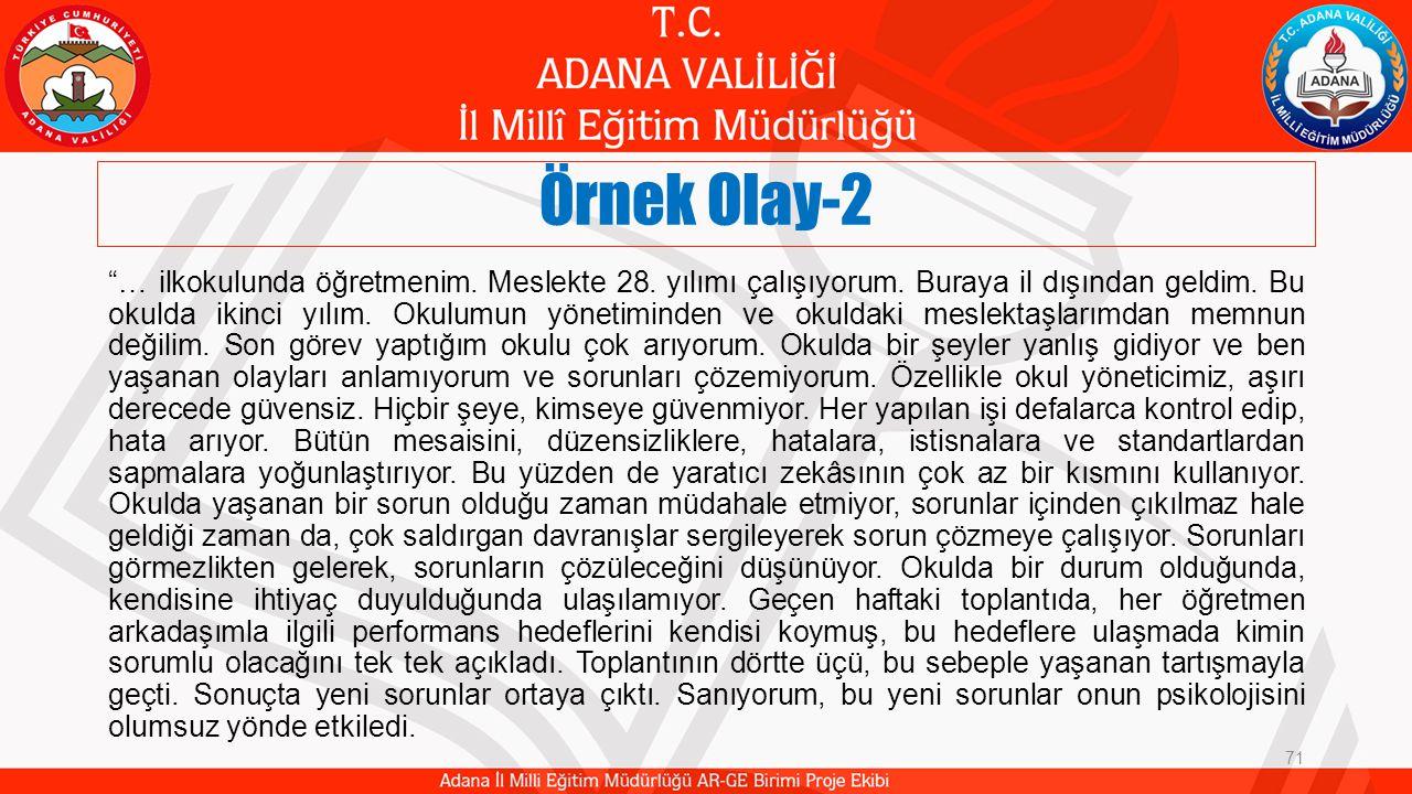 Örnek Olay-2 … ilkokulunda öğretmenim.Meslekte 28.