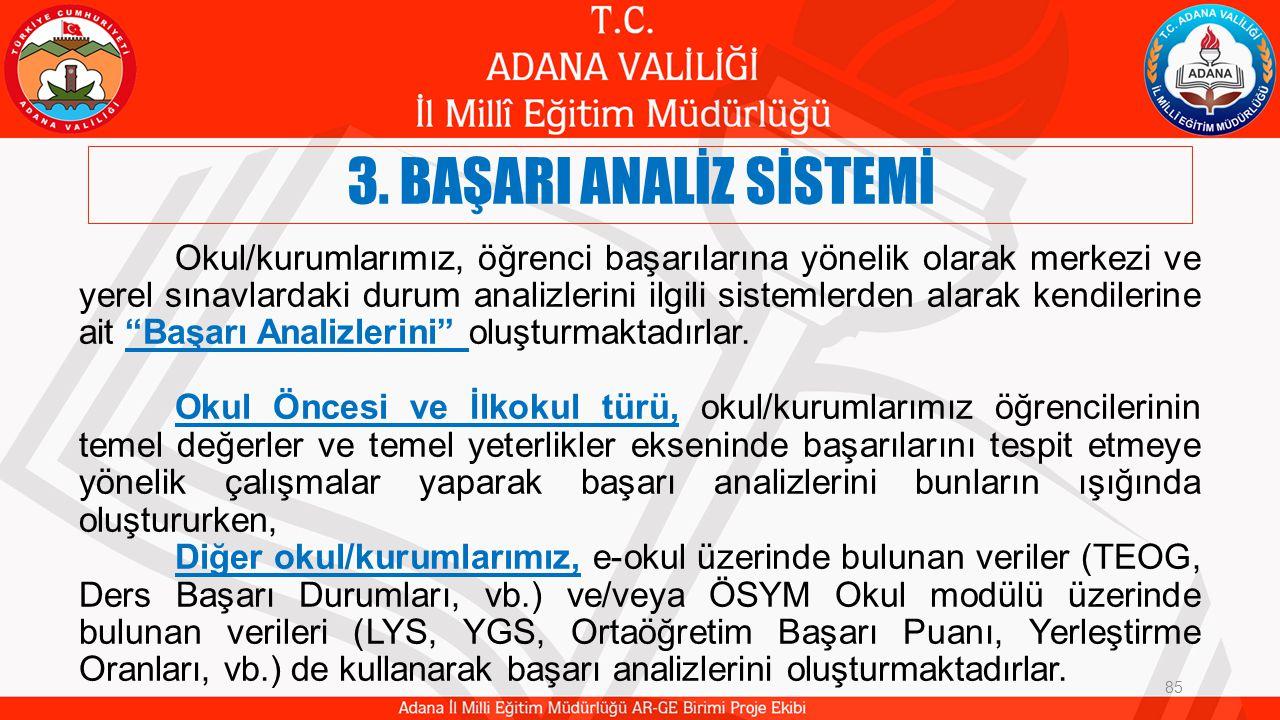 3.BAŞARI ANALİZ SİSTEMİ 86 Ortak Kazanım Değerlendirme Sınavı Yapıldı.