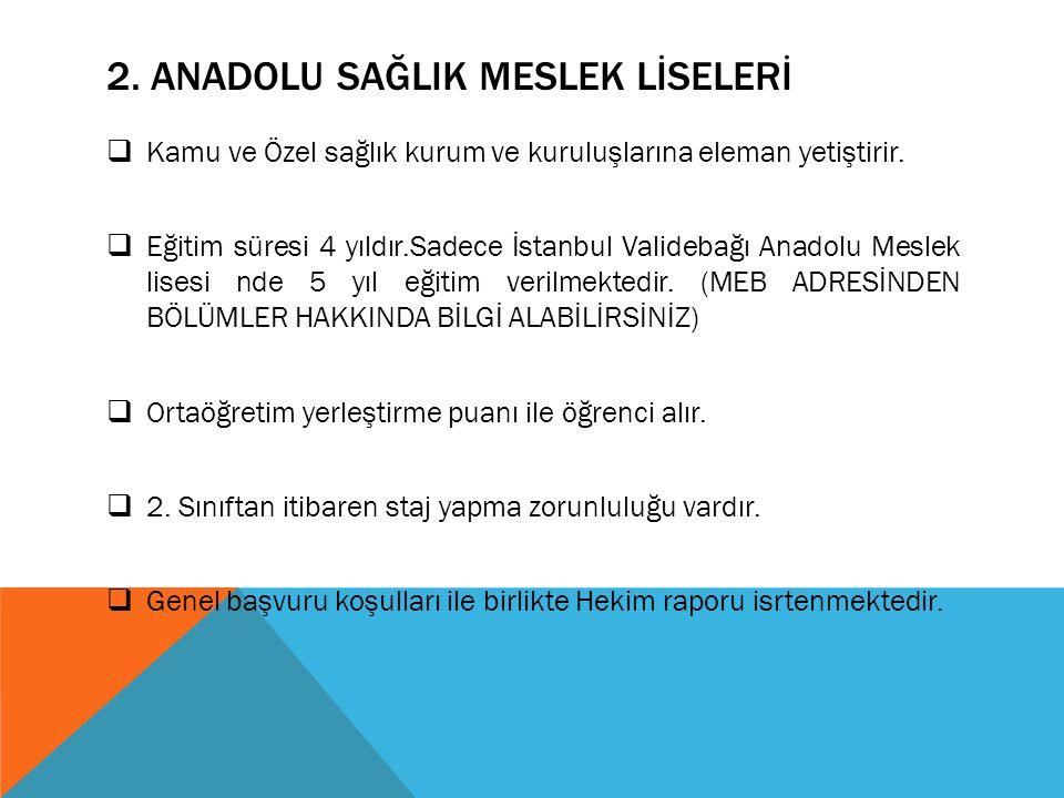 2. ANADOLU SAĞLIK MESLEK LİSELERİ  Kamu ve Özel sağlık kurum ve kuruluşlarına eleman yetiştirir.  Eğitim süresi 4 yıldır.Sadece İstanbul Validebağı