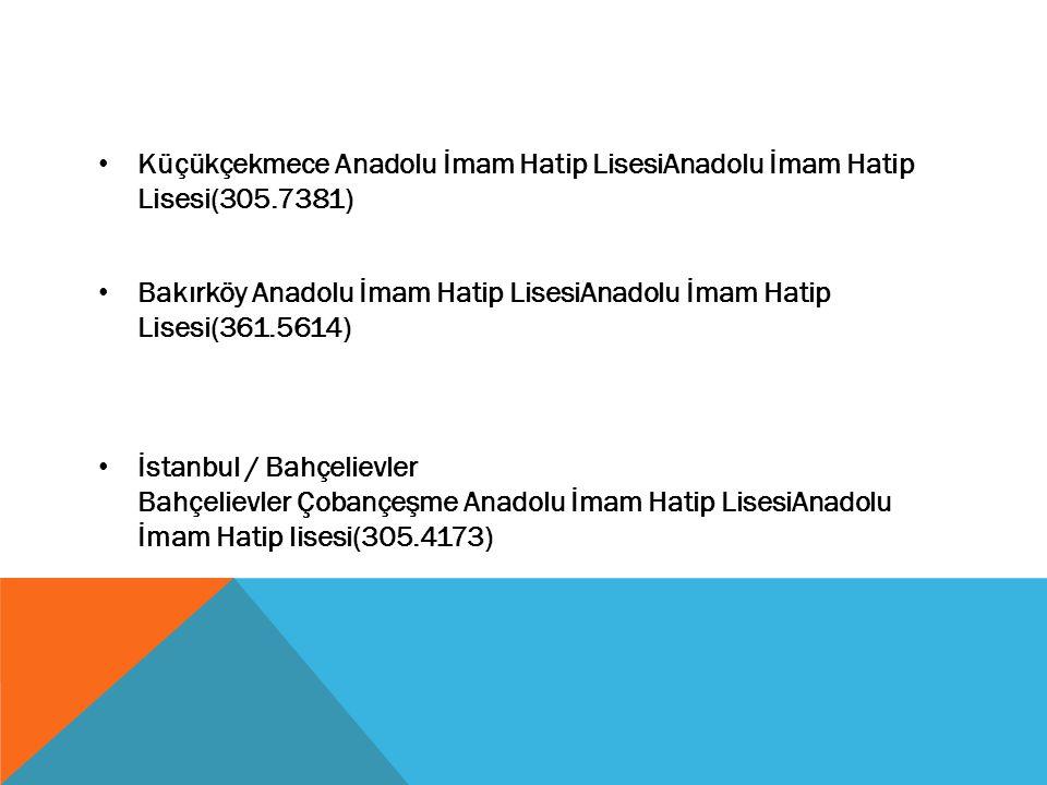 Küçükçekmece Anadolu İmam Hatip LisesiAnadolu İmam Hatip Lisesi(305.7381) Bakırköy Anadolu İmam Hatip LisesiAnadolu İmam Hatip Lisesi(361.5614) İstanb