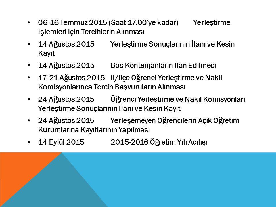 06-16 Temmuz 2015 (Saat 17.00'ye kadar) Yerleştirme İşlemleri İçin Tercihlerin Alınması 14 Ağustos 2015 Yerleştirme Sonuçlarının İlanı ve Kesin Kayıt