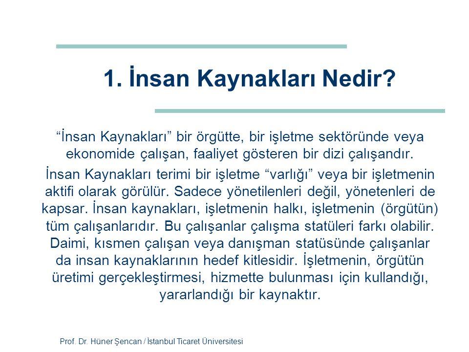 """Prof. Dr. Hüner Şencan / İstanbul Ticaret Üniversitesi 1. İnsan Kaynakları Nedir? """"İnsan Kaynakları"""" bir örgütte, bir işletme sektöründe veya ekonomid"""