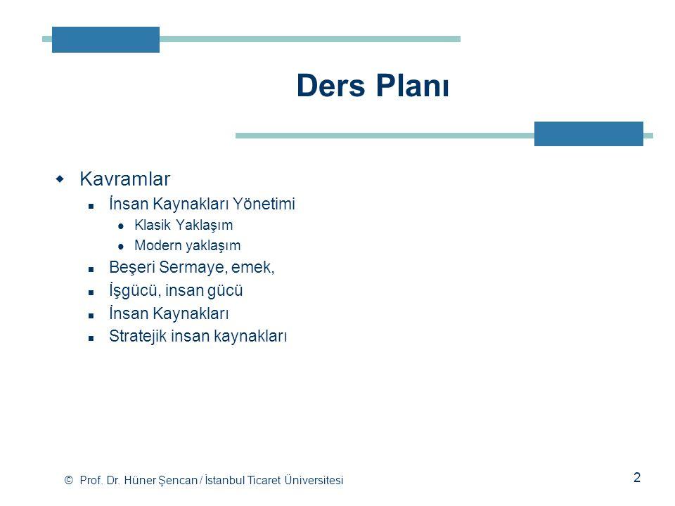 © Prof. Dr. Hüner Şencan / İstanbul Ticaret Üniversitesi  Kavramlar İnsan Kaynakları Yönetimi Klasik Yaklaşım Modern yaklaşım Beşeri Sermaye, emek, İ