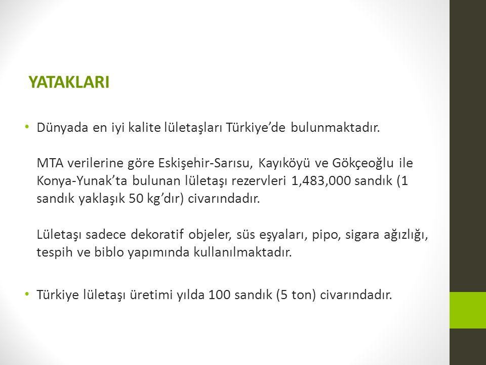 YATAKLARI Dünyada en iyi kalite lületaşları Türkiye'de bulunmaktadır. MTA verilerine göre Eskişehir-Sarısu, Kayıköyü ve Gökçeoğlu ile Konya-Yunak'ta b