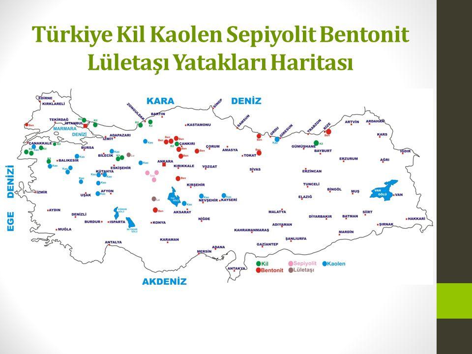 Türkiye Kil Kaolen Sepiyolit Bentonit Lületaşı Yatakları Haritası