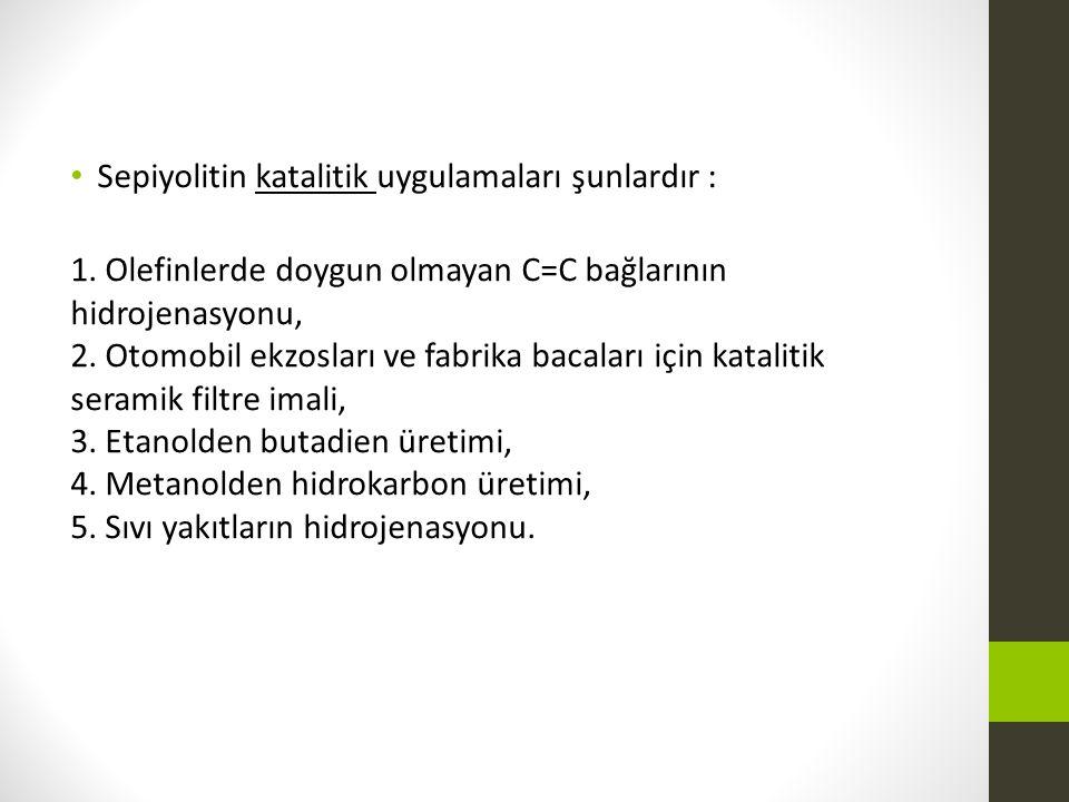Sepiyolitin katalitik uygulamaları şunlardır : 1. Olefinlerde doygun olmayan C=C bağlarının hidrojenasyonu, 2. Otomobil ekzosları ve fabrika bacaları