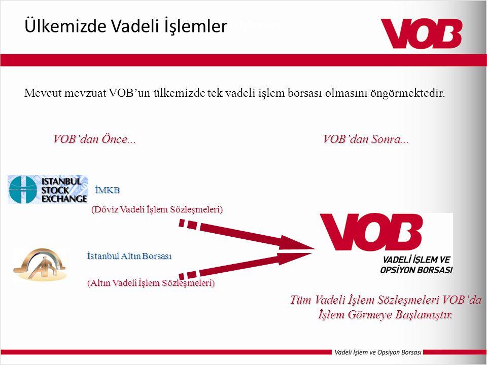 İMKB VOB'dan Önce... (Döviz Vadeli İşlem Sözleşmeleri) İstanbul Altın Borsası (Altın Vadeli İşlem Sözleşmeleri) VOB'dan Sonra... Tüm Vadeli İşlem Sözl