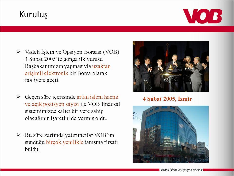  Vadeli İşlem ve Opsiyon Borsası (VOB) 4 Şubat 2005'te gonga ilk vuruşu Başbakanımızın yapmasıyla uzaktan erişimli elektronik bir Borsa olarak faaliy