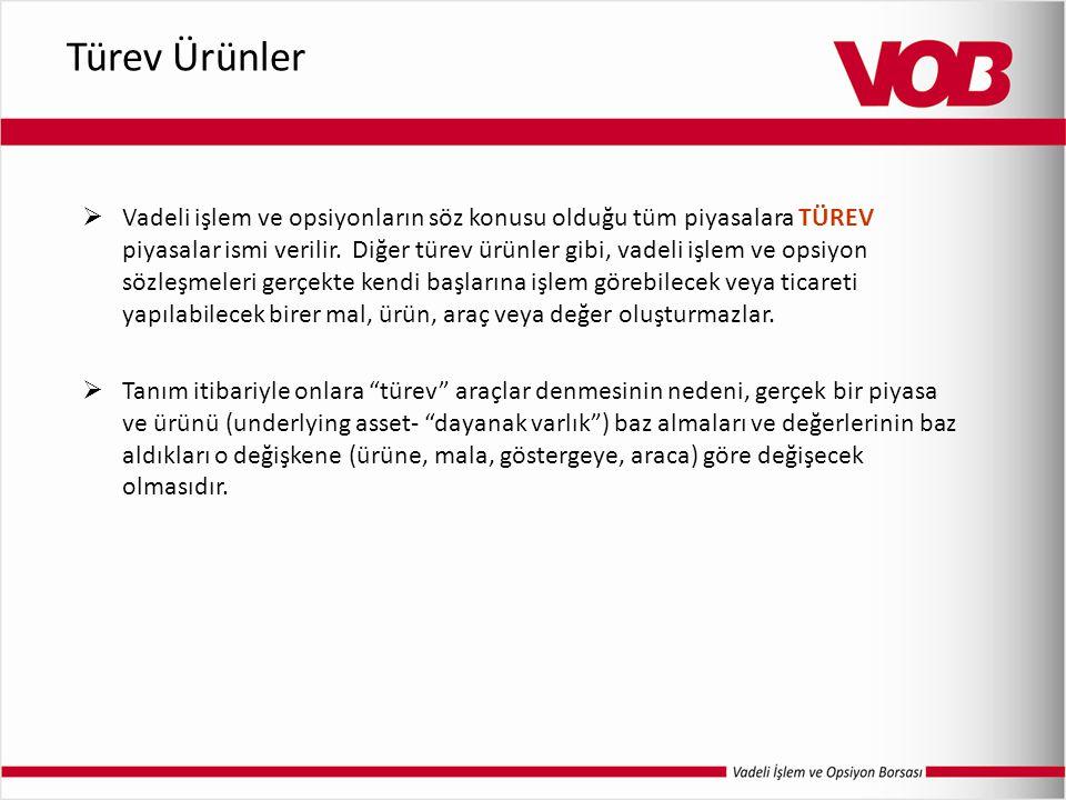 Türev Ürünler  Vadeli işlem ve opsiyonların söz konusu olduğu tüm piyasalara TÜREV piyasalar ismi verilir.