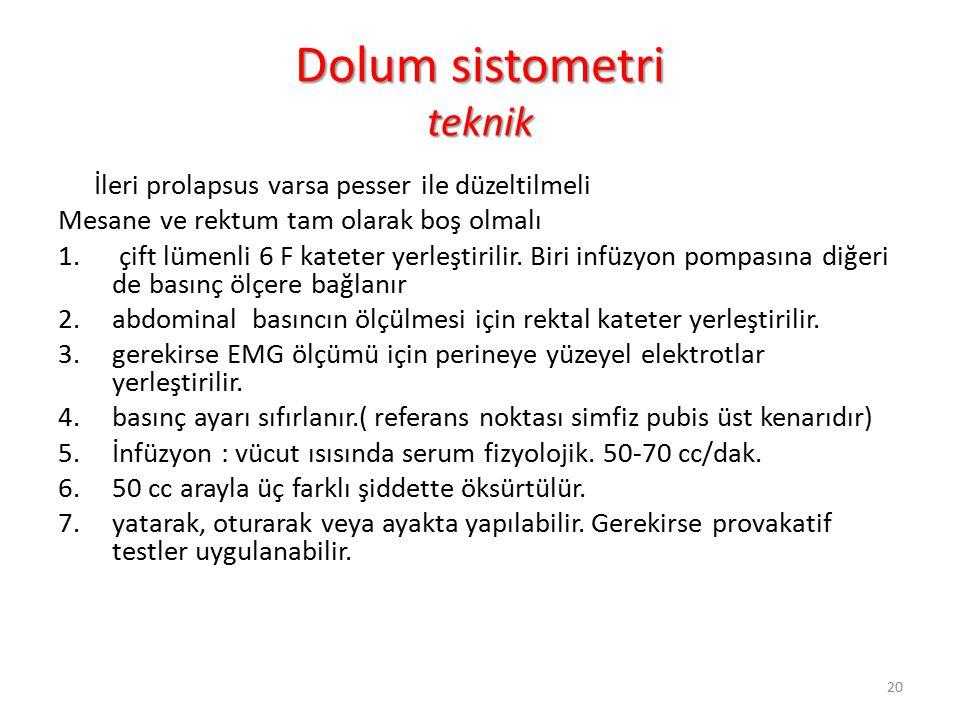 Dolum sistometri teknik İleri prolapsus varsa pesser ile düzeltilmeli Mesane ve rektum tam olarak boş olmalı 1.
