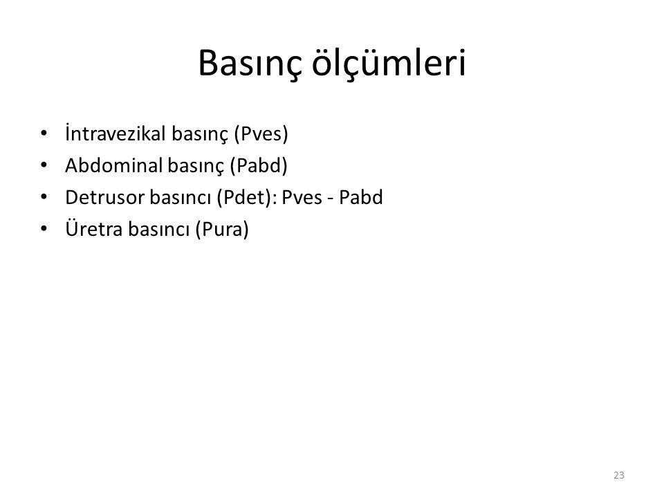 Basınç ölçümleri İntravezikal basınç (Pves) Abdominal basınç (Pabd) Detrusor basıncı (Pdet): Pves - Pabd Üretra basıncı (Pura) 23