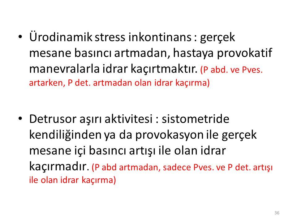 Ürodinamik stress inkontinans : gerçek mesane basıncı artmadan, hastaya provokatif manevralarla idrar kaçırtmaktır. (P abd. ve Pves. artarken, P det.