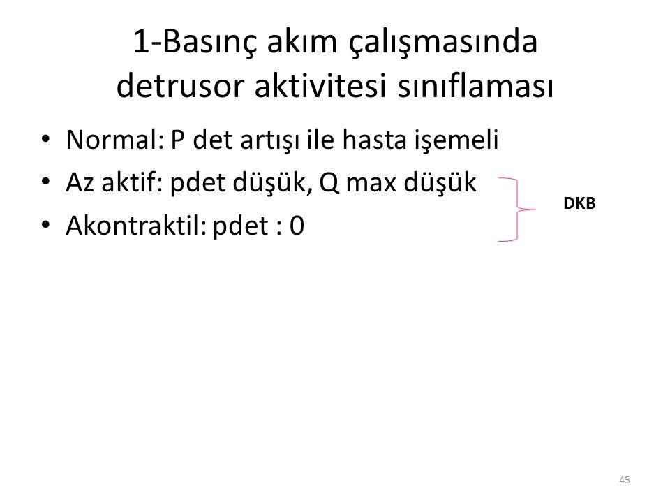 1-Basınç akım çalışmasında detrusor aktivitesi sınıflaması Normal: P det artışı ile hasta işemeli Az aktif: pdet düşük, Q max düşük Akontraktil: pdet : 0 DKB 45