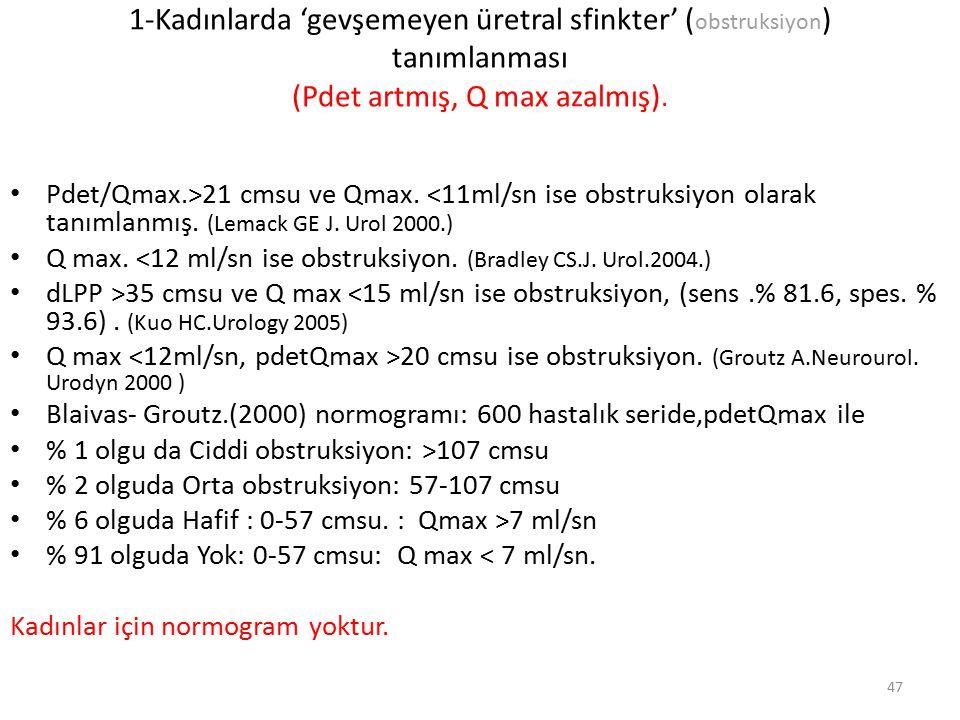 1-Kadınlarda 'gevşemeyen üretral sfinkter' ( obstruksiyon ) tanımlanması (Pdet artmış, Q max azalmış). Pdet/Qmax.>21 cmsu ve Qmax. <11ml/sn ise obstru