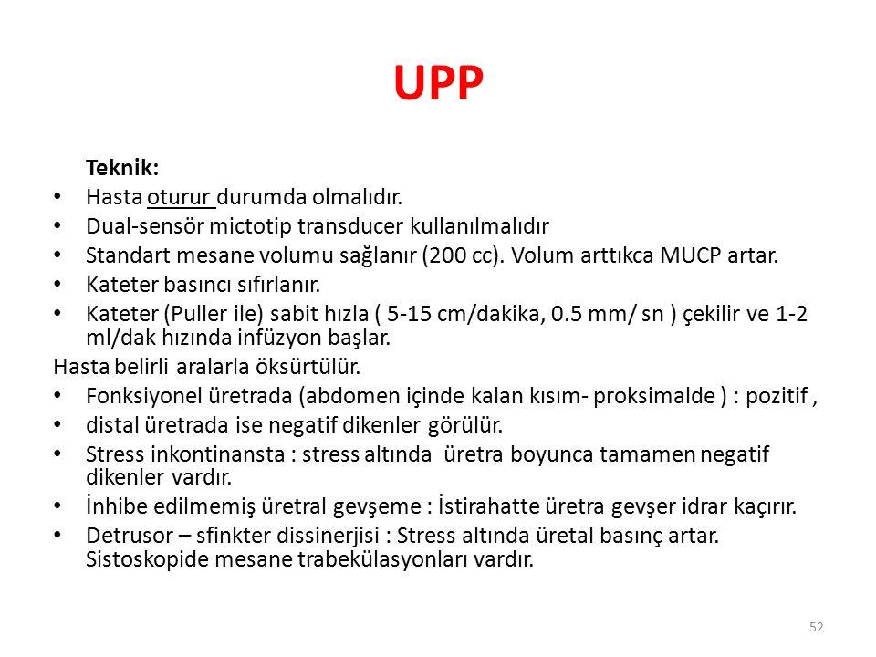UPP Teknik: Hasta oturur durumda olmalıdır. Dual-sensör mictotip transducer kullanılmalıdır Standart mesane volumu sağlanır (200 cc). Volum arttıkca M