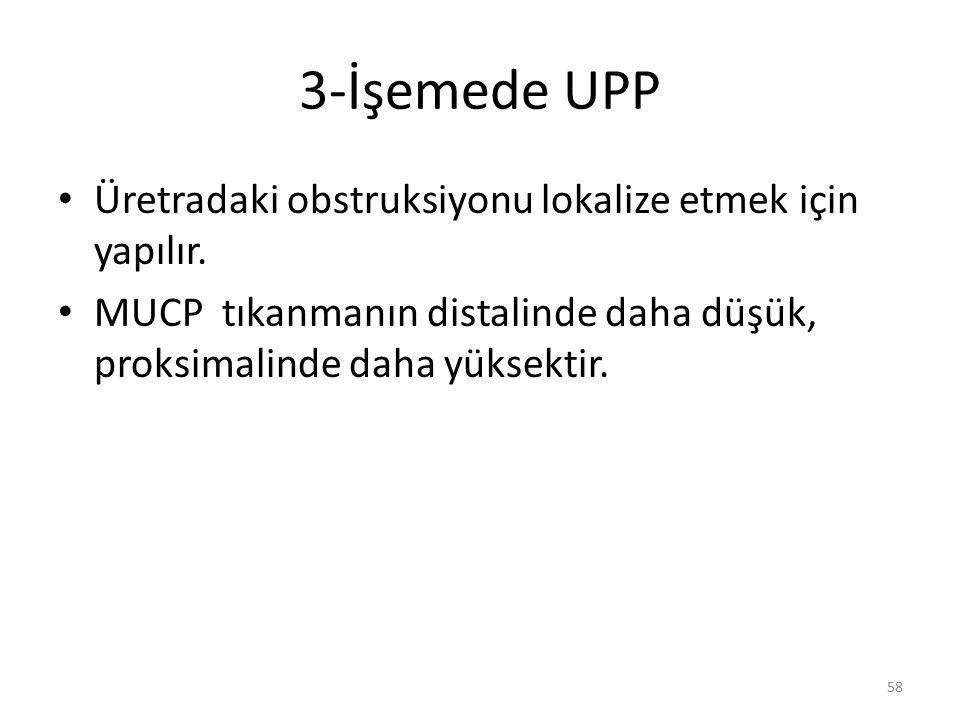 3-İşemede UPP Üretradaki obstruksiyonu lokalize etmek için yapılır. MUCP tıkanmanın distalinde daha düşük, proksimalinde daha yüksektir. 58
