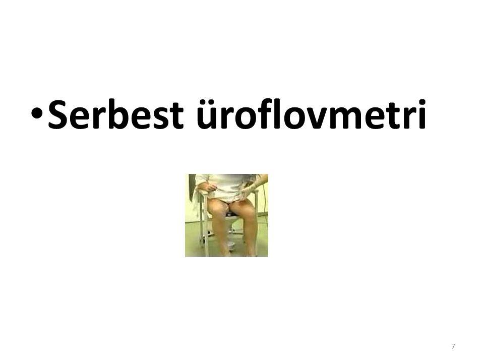 Boşaltım 1-serbest üroflovmetri 2-basınç akım çalışması 1- Serbest üroflovmetri-idrar akım hızı (ml/sn): Teknik: Hastaya sıkışması söylenir.