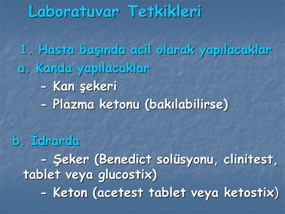 Ayırıcı Tanı Diabetik ketoasidozun ayırıcı tanısında asidoz ve komanın diğer nedenleri düşünülmelidir.