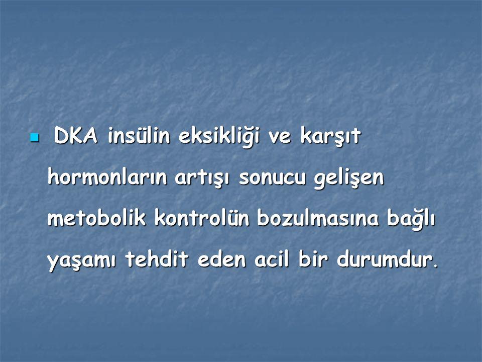 Diyabetik ketoasidoz( DKA), Diyabetik ketoasidoz( DKA), İnsülin yetersizliğine bağlı ketozise sekonder gelişen asidoz tablosu olarak tanımlanabilinir.