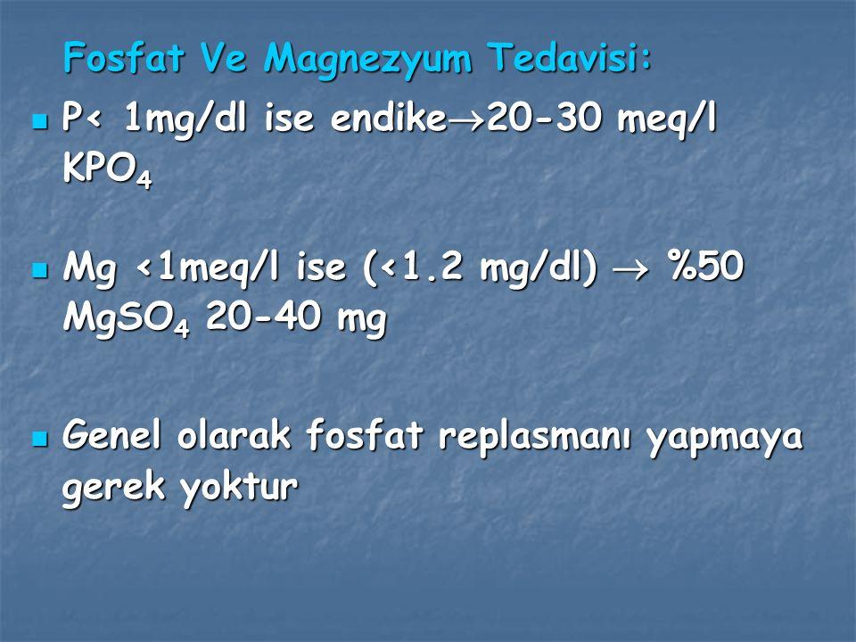 Düzeltilimiş serum Na > 155 mEq/L ise başlangıçta % 0.45 SF kullanılmalıdır.