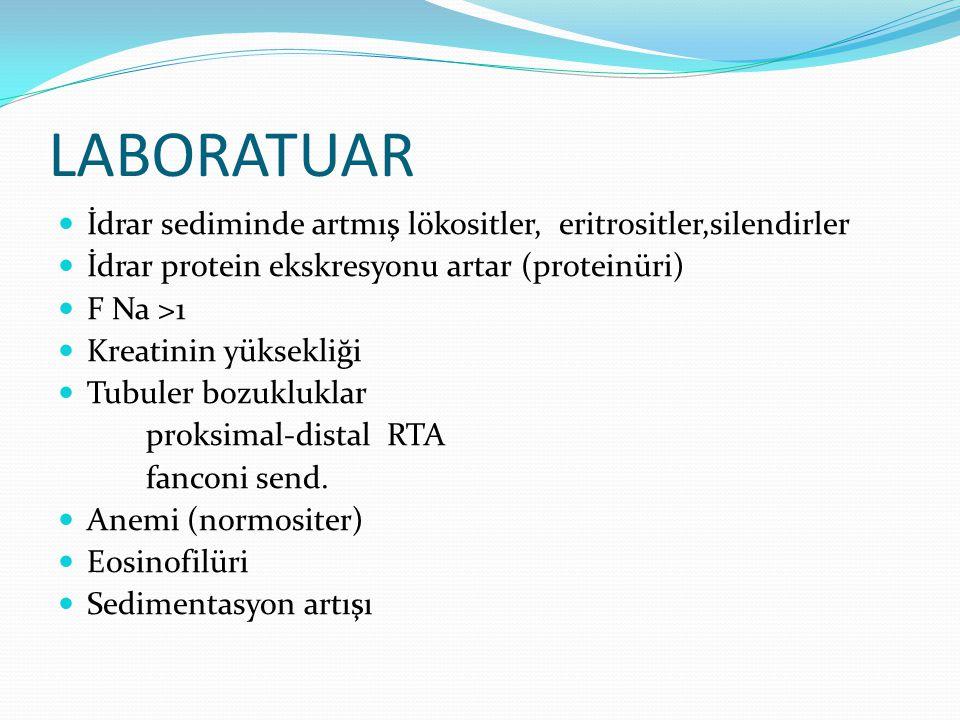 LABORATUAR İdrar sediminde artmış lökositler, eritrositler,silendirler İdrar protein ekskresyonu artar (proteinüri) F Na >1 Kreatinin yüksekliği Tubul