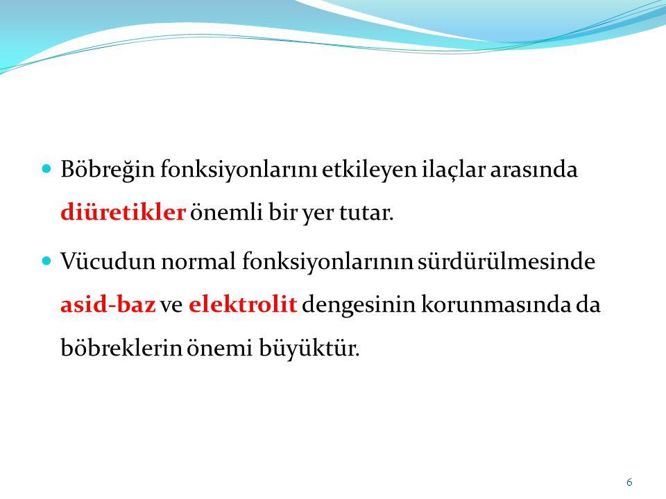 3- KIVRIM DİÜRETİKLERİ Henle kıvrımının çıkan kısmını etkilerler.