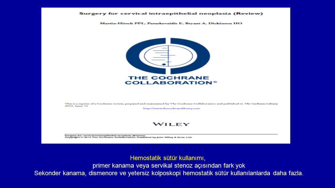 Hemostatik sütür kullanımı, primer kanama veya servikal stenoz açısından fark yok Sekonder kanama, dismenore ve yetersiz kolposkopi hemostatik sütür k