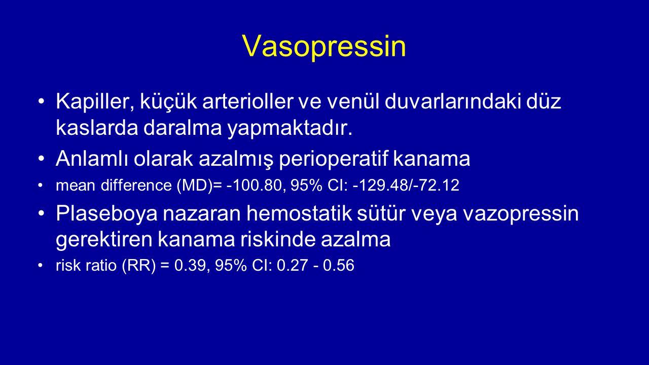 Vasopressin Kapiller, küçük arterioller ve venül duvarlarındaki düz kaslarda daralma yapmaktadır. Anlamlı olarak azalmış perioperatif kanama mean diff