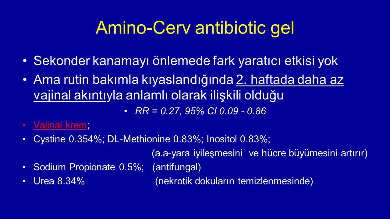 Amino-Cerv antibiotic gel Sekonder kanamayı önlemede fark yaratıcı etkisi yok Ama rutin bakımla kıyaslandığında 2. haftada daha az vajinal akıntıyla a