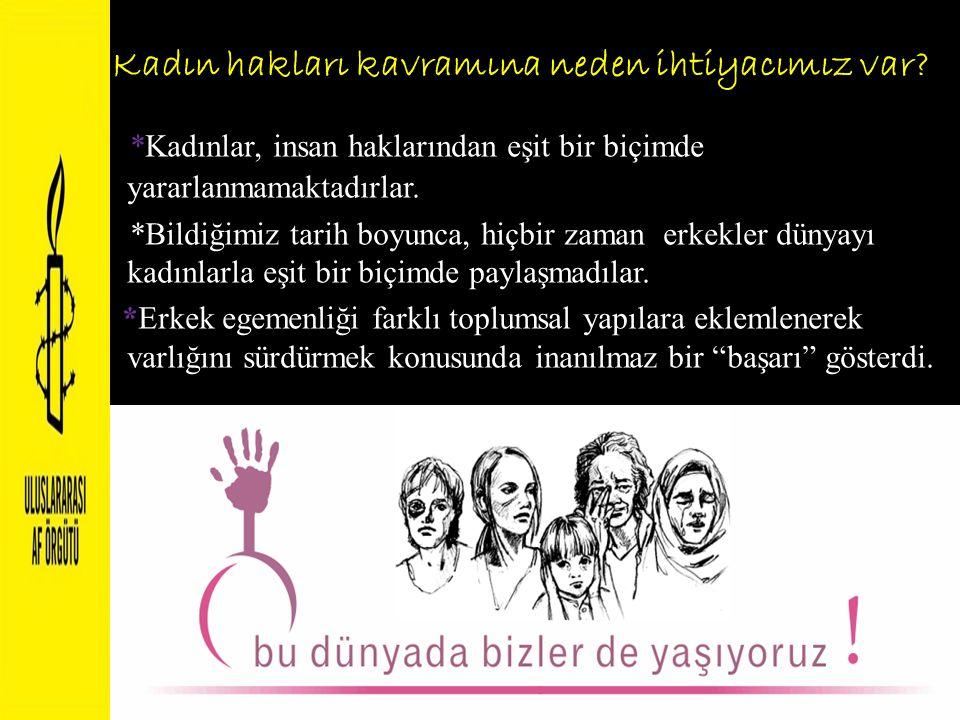 Kadın hakları kavramına neden ihtiyacımız var? *Kadınlar, insan haklarından eşit bir biçimde yararlanmamaktadırlar. *Bildiğimiz tarih boyunca, hiçbir