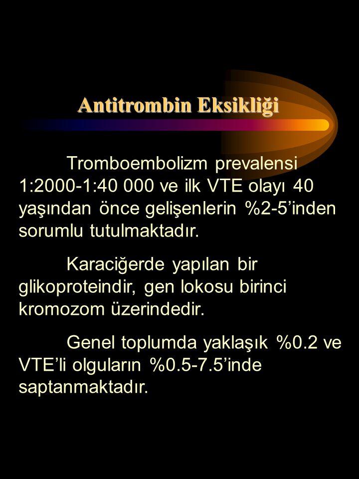Antitrombin Eksikliği Tromboembolizm prevalensi 1:2000-1:40 000 ve ilk VTE olayı 40 yaşından önce gelişenlerin %2-5'inden sorumlu tutulmaktadır. Karac