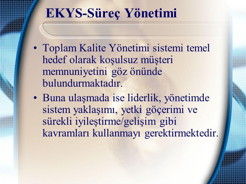 EKYS-Süreç Yönetimi Toplam Kalite Yönetimi sistemi temel hedef olarak koşulsuz müşteri memnuniyetini göz önünde bulundurmaktadır.