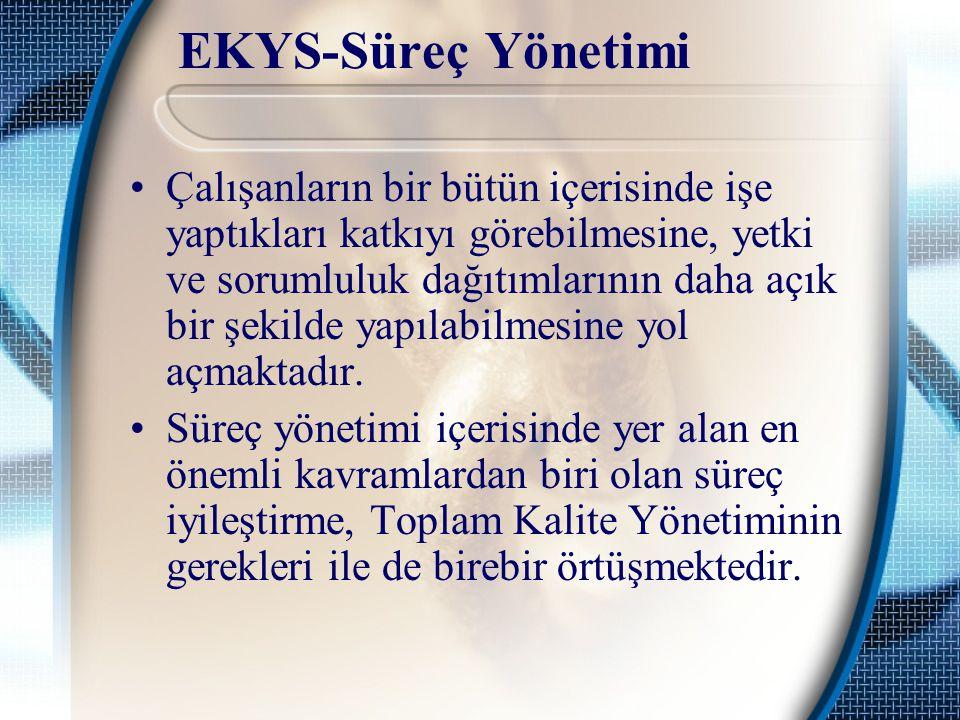 EKYS-Süreç Yönetimi Çalışanların bir bütün içerisinde işe yaptıkları katkıyı görebilmesine, yetki ve sorumluluk dağıtımlarının daha açık bir şekilde yapılabilmesine yol açmaktadır.