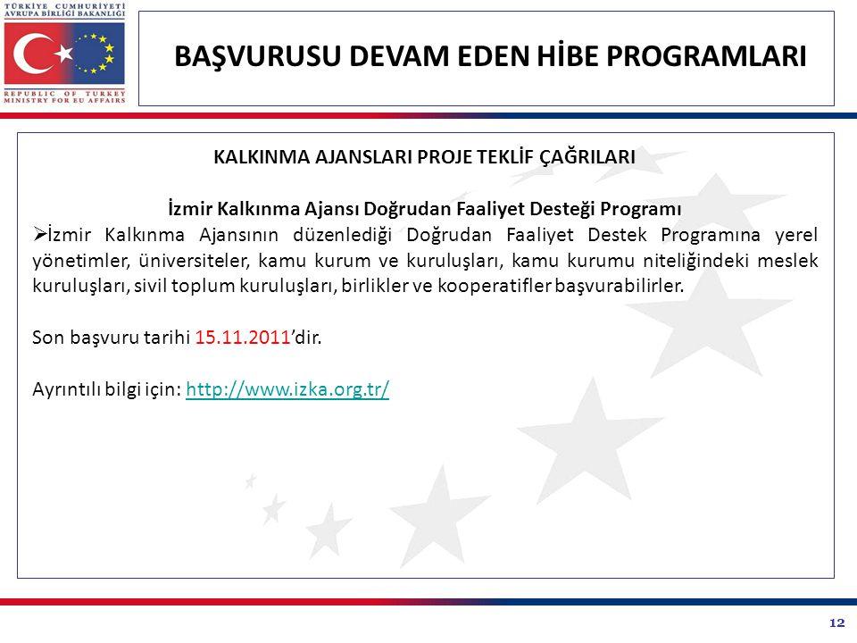 12 BAŞVURUSU DEVAM EDEN HİBE PROGRAMLARI KALKINMA AJANSLARI PROJE TEKLİF ÇAĞRILARI İzmir Kalkınma Ajansı Doğrudan Faaliyet Desteği Programı  İzmir Ka