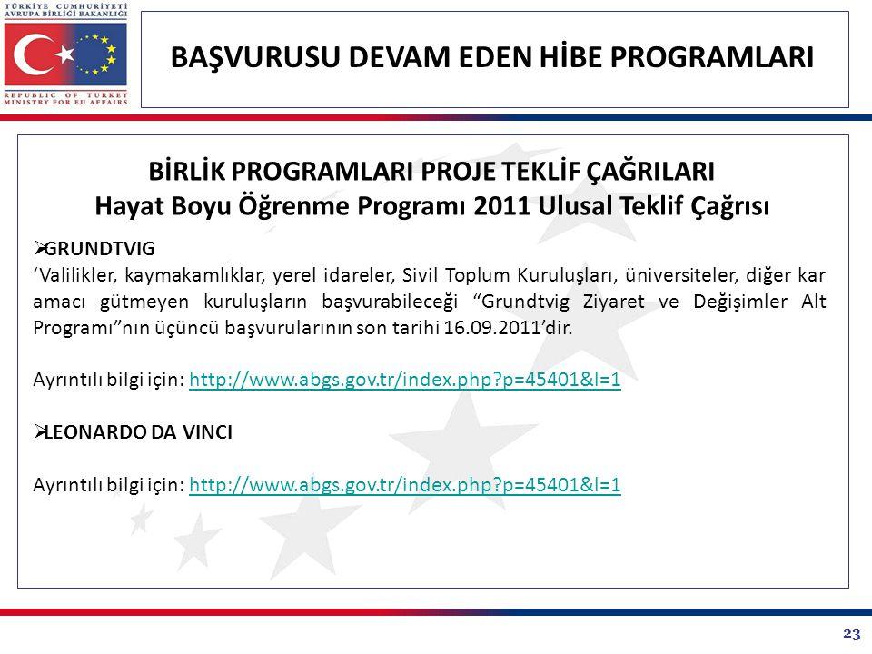 23 BAŞVURUSU DEVAM EDEN HİBE PROGRAMLARI BİRLİK PROGRAMLARI PROJE TEKLİF ÇAĞRILARI Hayat Boyu Öğrenme Programı 2011 Ulusal Teklif Çağrısı  GRUNDTVIG