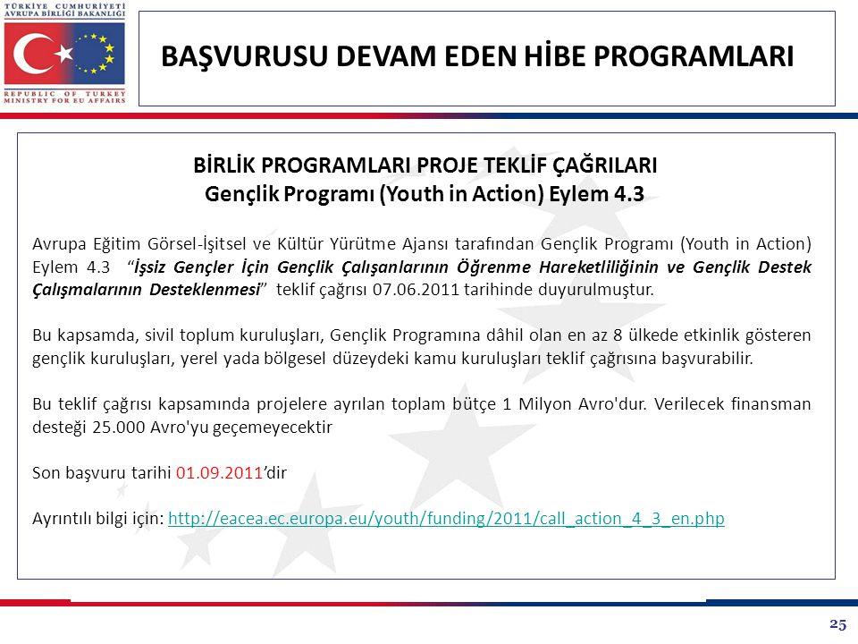 25 BAŞVURUSU DEVAM EDEN HİBE PROGRAMLARI Avrupa Eğitim Görsel-İşitsel ve Kültür Yürütme Ajansı tarafından Gençlik Programı (Youth in Action) Eylem 4.3