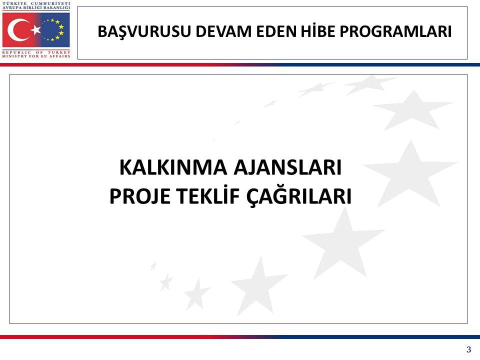 24 BAŞVURUSU DEVAM EDEN HİBE PROGRAMLARI BİRLİK PROGRAMLARI PROJE TEKLİF ÇAĞRILARI Hayat Boyu Öğrenme Programı 2012 Genel Teklif Çağrısı Hayatboyu Öğrenme Programı (LLP) 2012 Genel Teklif Çağrısı, Avrupa Komisyonu tarafından 09.08.2011 tarihinde yayınlanmıştır.
