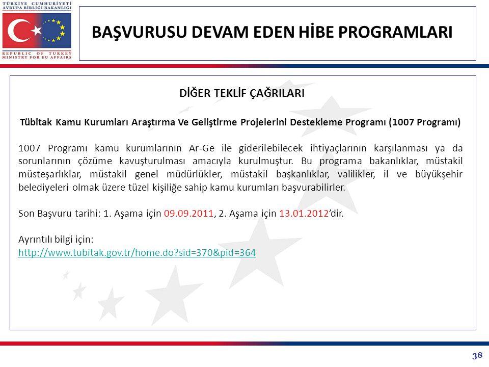 38 BAŞVURUSU DEVAM EDEN HİBE PROGRAMLARI DİĞER TEKLİF ÇAĞRILARI Tübitak Kamu Kurumları Araştırma Ve Geliştirme Projelerini Destekleme Programı (1007 P