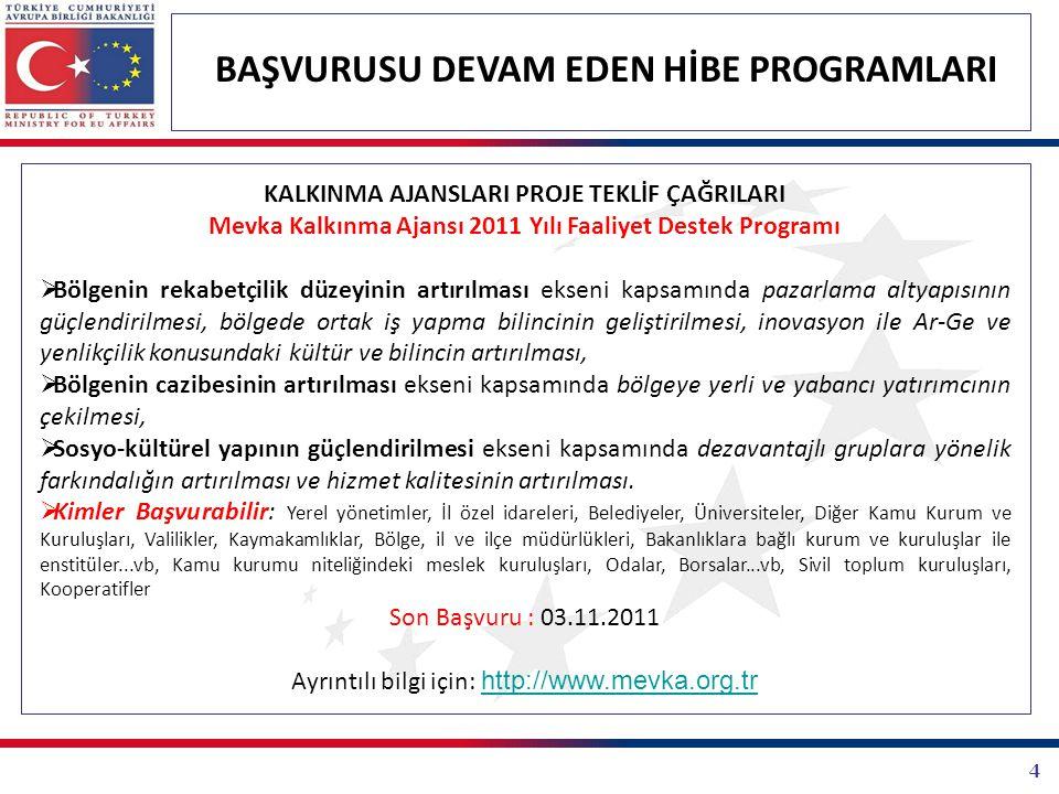4 BAŞVURUSU DEVAM EDEN HİBE PROGRAMLARI KALKINMA AJANSLARI PROJE TEKLİF ÇAĞRILARI Mevka Kalkınma Ajansı 2011 Yılı Faaliyet Destek Programı  Bölgenin