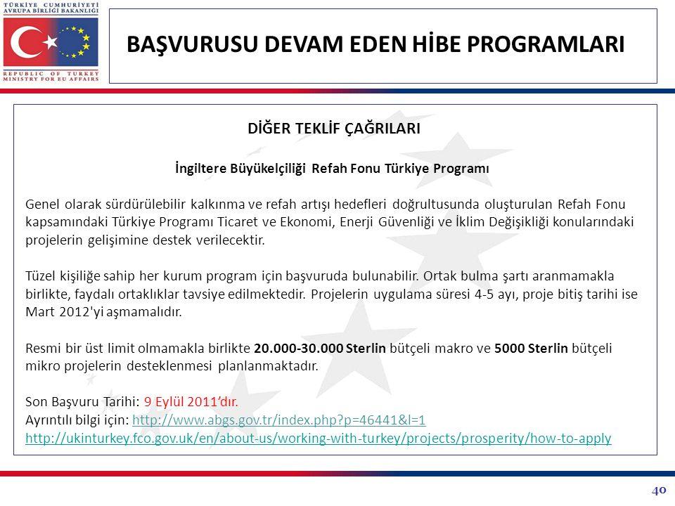 40 BAŞVURUSU DEVAM EDEN HİBE PROGRAMLARI DİĞER TEKLİF ÇAĞRILARI İngiltere Büyükelçiliği Refah Fonu Türkiye Programı Genel olarak sürdürülebilir kalkın
