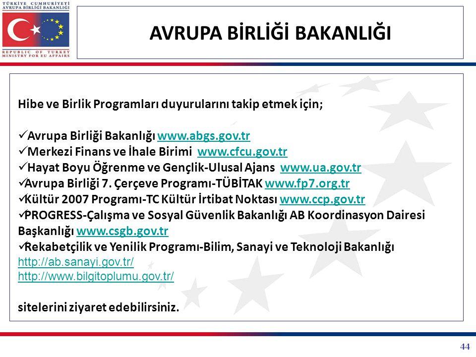 44 AVRUPA BİRLİĞİ BAKANLIĞI Hibe ve Birlik Programları duyurularını takip etmek için; Avrupa Birliği Bakanlığı www.abgs.gov.trwww.abgs.gov.tr Merkezi