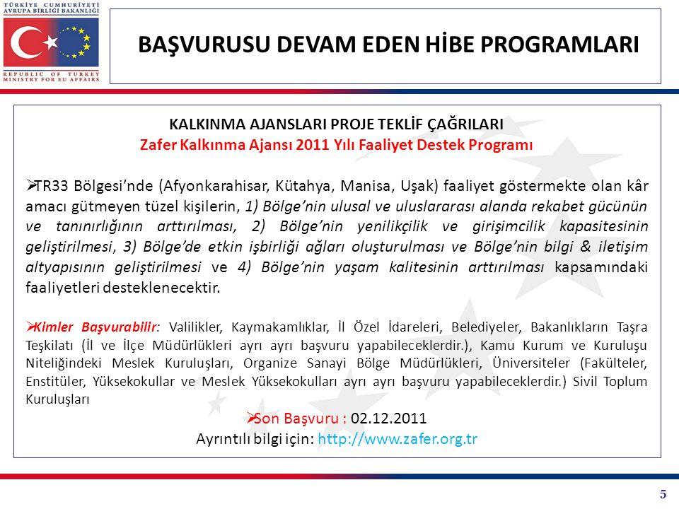 26 BAŞVURUSU DEVAM EDEN HİBE PROGRAMLARI BİRLİK PROGRAMLARI PROJE TEKLİF ÇAĞRILARI GENÇLİK PROGRAMI 4.6: ORTAKLIKLAR TEKLİF ÇAĞRISI Avrupa Komisyonu Eğitim Görsel İşitsel Yürütme Ajansı Gençlik Programı Eylem 4.6 teklif çağrısını duyurmuştur.