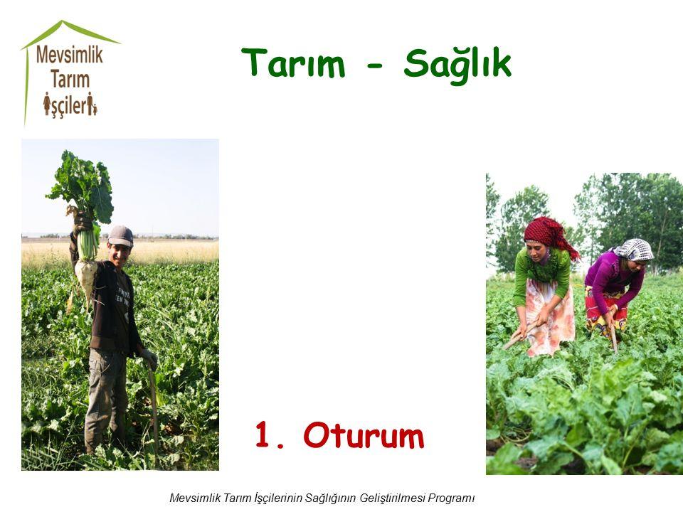 Tarım - Sağlık Mevsimlik Tarım İşçilerinin Sağlığının Geliştirilmesi Programı 1. Oturum