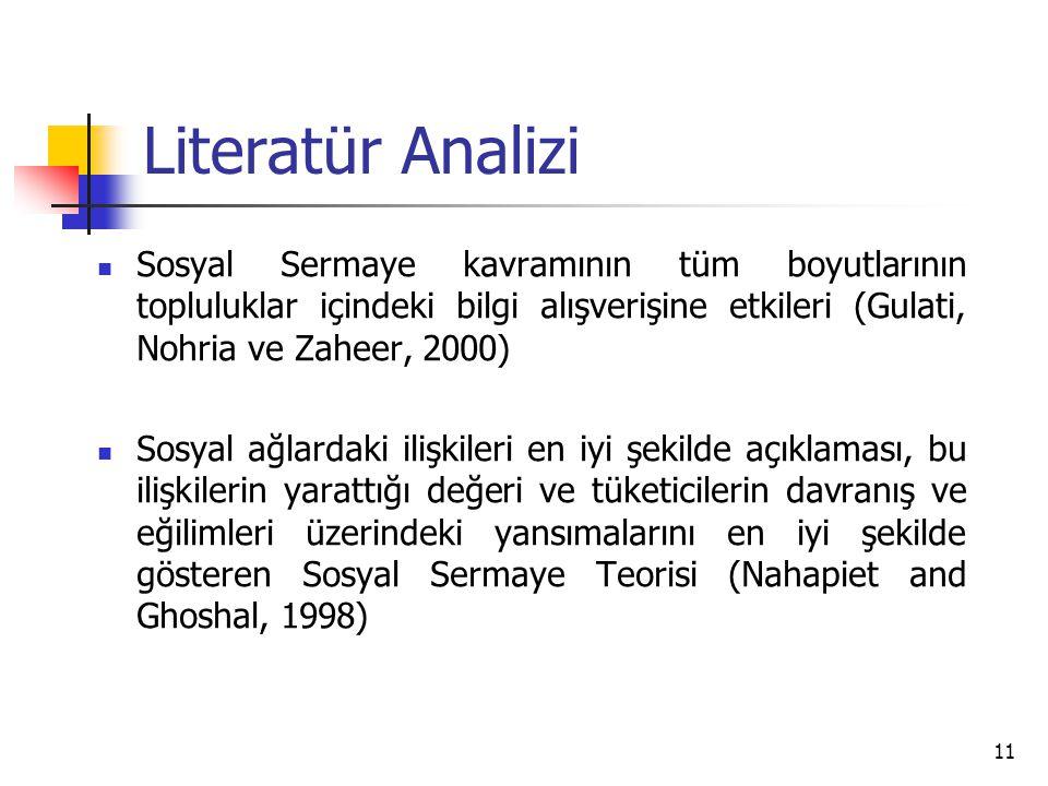 11 Literatür Analizi Sosyal Sermaye kavramının tüm boyutlarının topluluklar içindeki bilgi alışverişine etkileri (Gulati, Nohria ve Zaheer, 2000) Sosy