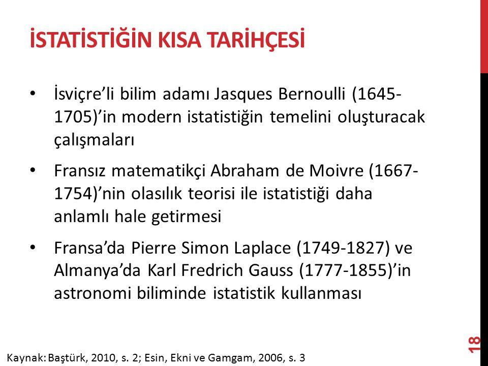 İSTATİSTİĞİN KISA TARİHÇESİ İsviçre'li bilim adamı Jasques Bernoulli (1645- 1705)'in modern istatistiğin temelini oluşturacak çalışmaları Fransız matematikçi Abraham de Moivre (1667- 1754)'nin olasılık teorisi ile istatistiği daha anlamlı hale getirmesi Fransa'da Pierre Simon Laplace (1749-1827) ve Almanya'da Karl Fredrich Gauss (1777-1855)'in astronomi biliminde istatistik kullanması Kaynak: Baştürk, 2010, s.