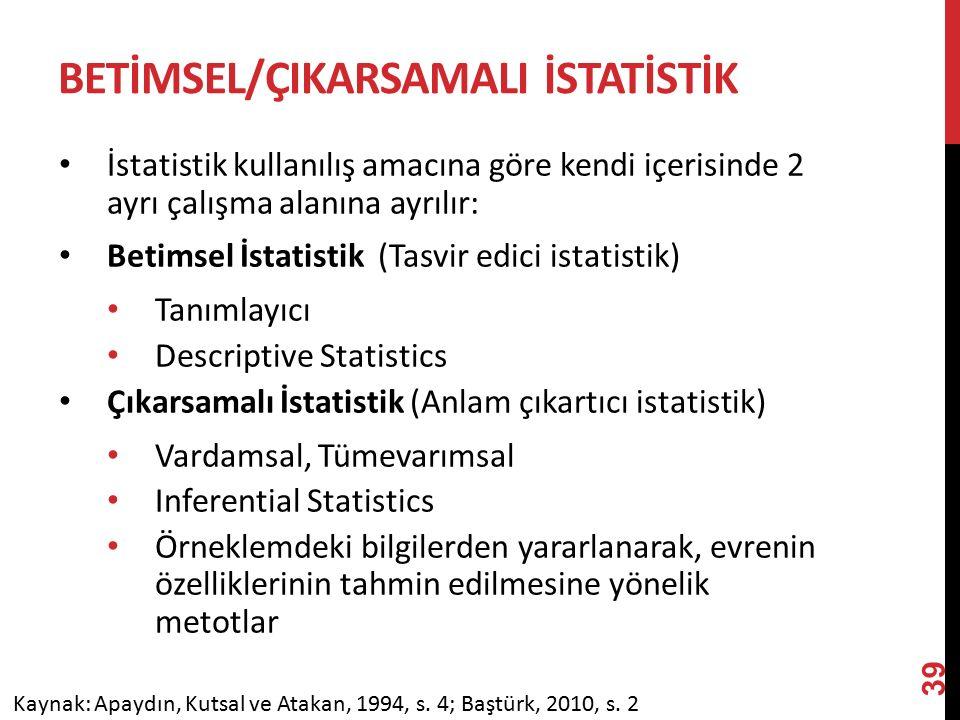 BETİMSEL/ÇIKARSAMALI İSTATİSTİK İstatistik kullanılış amacına göre kendi içerisinde 2 ayrı çalışma alanına ayrılır: Betimsel İstatistik (Tasvir edici istatistik) Tanımlayıcı Descriptive Statistics Çıkarsamalı İstatistik (Anlam çıkartıcı istatistik) Vardamsal, Tümevarımsal Inferential Statistics Örneklemdeki bilgilerden yararlanarak, evrenin özelliklerinin tahmin edilmesine yönelik metotlar Kaynak: Apaydın, Kutsal ve Atakan, 1994, s.