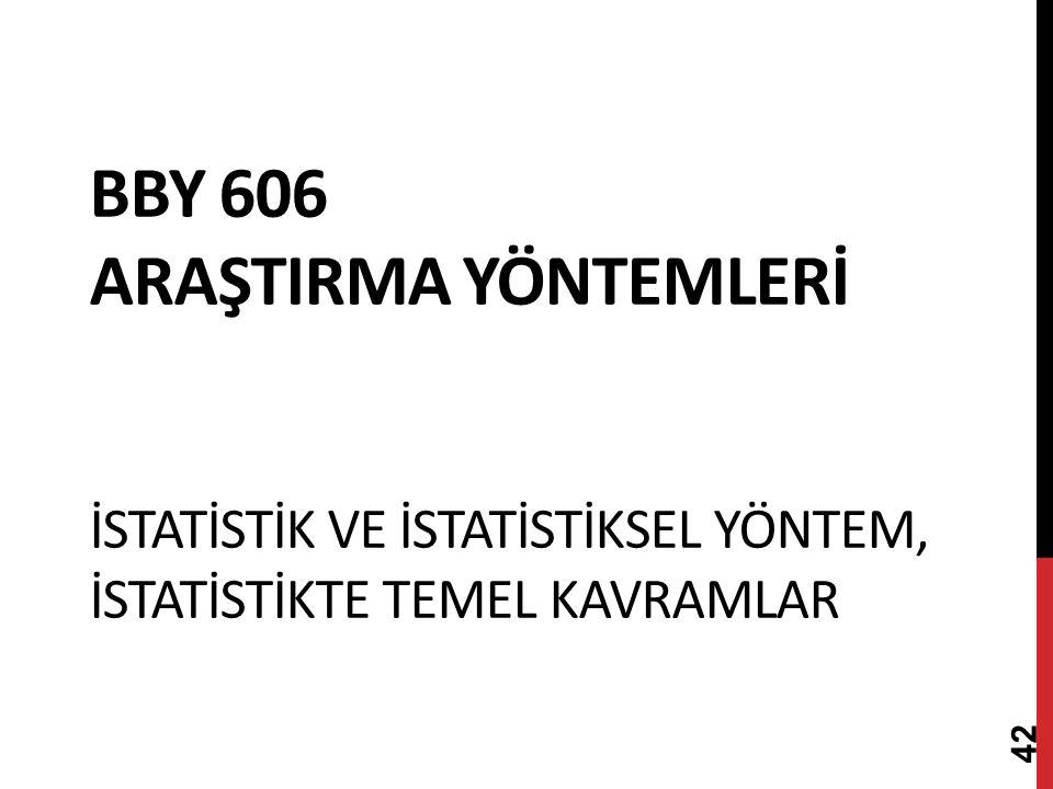 BBY 606 ARAŞTIRMA YÖNTEMLERİ İSTATİSTİK VE İSTATİSTİKSEL YÖNTEM, İSTATİSTİKTE TEMEL KAVRAMLAR 42