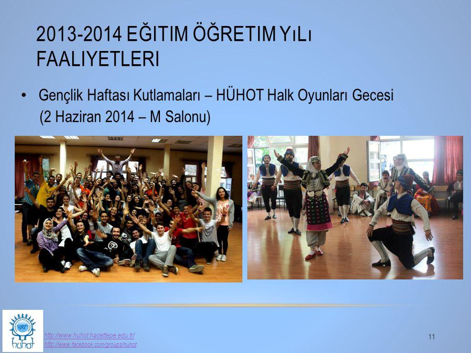 2013-2014 EĞITIM ÖĞRETIM YıLı FAALIYETLERI 11 http://www.huhot.hacettepe.edu.tr/ http:// www.facebook.com/groups/huhot Gençlik Haftası Kutlamaları – H